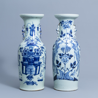 Two Chinese blue and white celadon ground vases with antiquities design and phoenixes among blossoming branches, 19th/20th C.