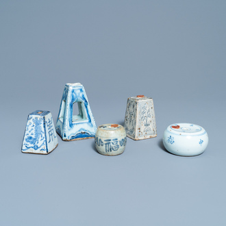 Five Chinese blue and white incense holders or scroll weights, Ming/Qing