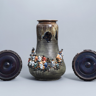 A tall Japanese Sumida Gawa vase with applied design of children and monkeys, Meiji, 19th/20th C.