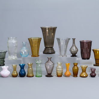 A collection of 30 glass vases, incl. Charles Graffart for Luxval, Murano, ...