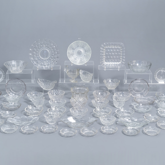 A large and varied collection of clear glass items, a.o. Val Saint Lambert and Pavillons, 20th C.