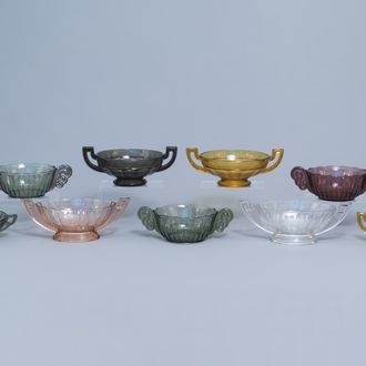 Nine press-moulded glass bowls, Luxval and/or Val Saint Lambert, 20th C.