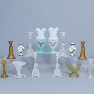 A varied collection of glass candlesticks and vases, a.o. opaline glass with floral design, various origins, 19th/20th C.