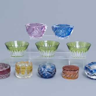 A varied collection of partly coloured glass and crystal items, a.o. Val Saint Lambert, 20th C.