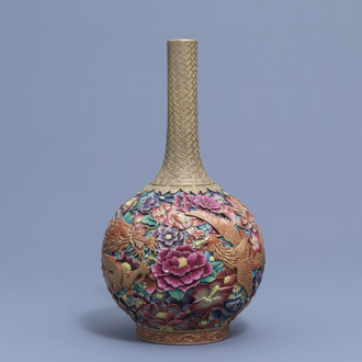 A Chinese famille rose 'dragon and phoenix' bottle vase, Qianlong mark, 20th C.