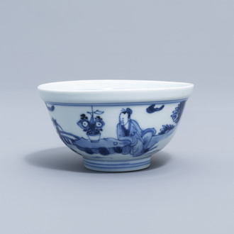A Chinese blue and white bowl with figures in a landscape all around, Yongzheng mark and period
