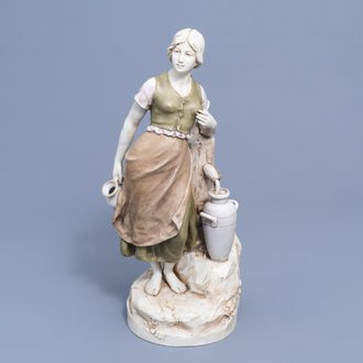 A polychrome decorated biscuit figure of a lady at a well, Royal Dux, 20th C.