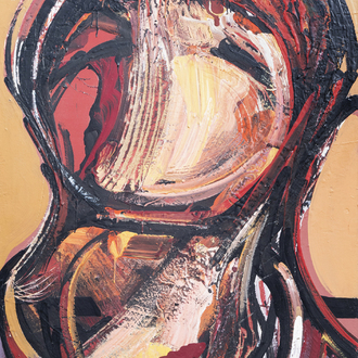 Roberto Diaz Acosta (1934): Figural composition, oil on panel, dated (19)73