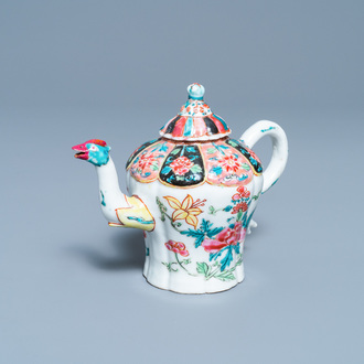 A Chinese famille rose phoenix spouted teapot and cover with floral design, Yongzheng