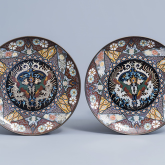 A pair of Japanese cloisonné chargers with phoenix and floral design, Meiji, 19th/20th C.