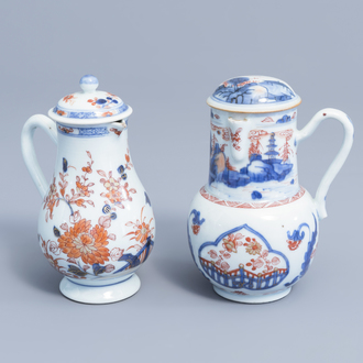 Two Chinese Imari style jugs and covers with floral design and a landscape, Kangxi/Qianlong