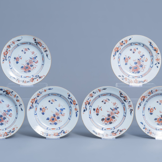 Six Chinese Imari style deep plates with floral design, Qianlong