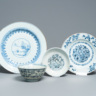Three various Chinese blue and white plates and a bowl with floral design, Ming and later