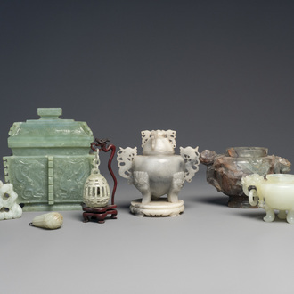 A varied collection of Chinese incense burners and small jade sculptures, 20th C.