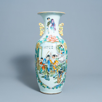 A Chinese famille rose double design vase, 19th/20th C.