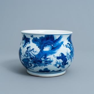 A Chinese blue and white censer with figures in a landscape, 19th/20th C.