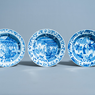 Three Chinese blue and white 'Romance of the Western Chamber' dishes, Yongzheng