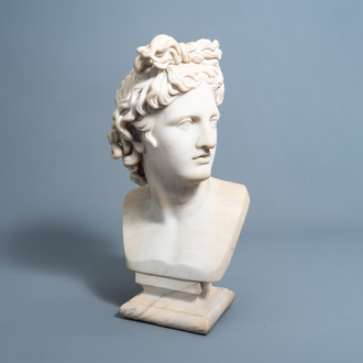 Italian school, after the antique: Bust of the Apollo Belvedere, white marble, ca. 1800