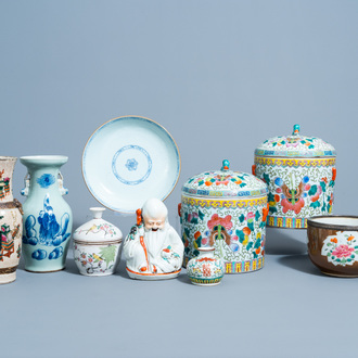 A varied collection of Chinese famille rose, qianjiang cai and blue and white porcelain, 18th C. and later