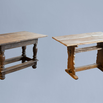 Two wood tables with removable top, various origins, 18th C. and later