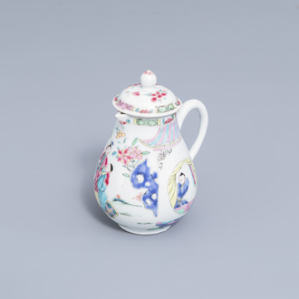 A Chinese famille rose milk jug with figures, Yongzheng