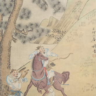 A Chinese 'falcon hunt' painting on paper, 19th/20th C.