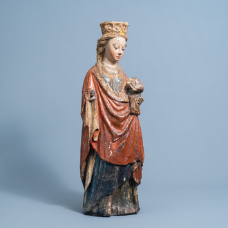 In the manner of the Master of Elsloo: A carved wooden and polychrome decorated Virgin and Child, possibly Gelderland, ca. 1500