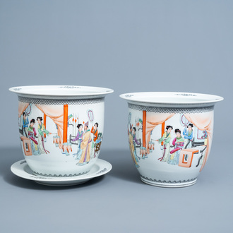 A pair of Chinese famille rose jardinières with figures in an interior and one stand, Republic, 20th C.