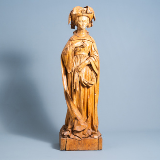 A carved elm wood figure of Agnes of Burgundy, Duchess of Bourbon and Auvergne, France or Flanders, 15th C. or later