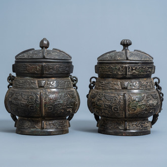 Two Chinese bronze ritual wine vessels, 'you', Ming