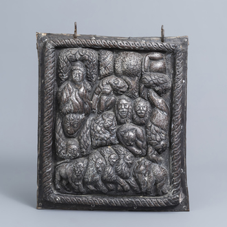 A Tibetan silver alto relievo depicting Buddha surrounded by animals, 18th/19th C.