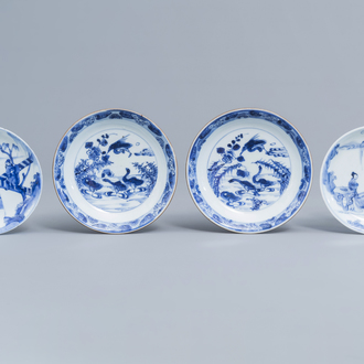 Two pairs of Chinese blue and white saucers with 'Romance of the Western Chamber' design and geese, Yongzheng/Qianlong