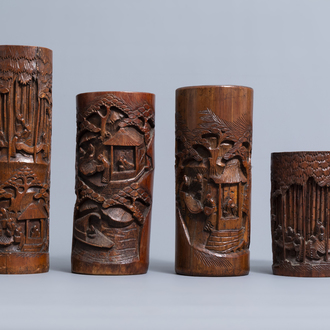 Four Chinese carved bamboo brush pots, 19th/20th C.