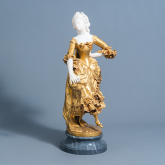 Affortunato Gory (act. 1895/1925): A dancing lady with a flower in her hand, marble and gilt bronze, marked D. Monnier