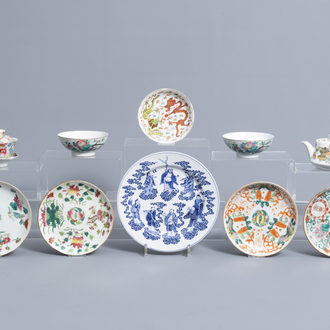 A varied collection of Chinese blue, white, qianjiang cai and famille rose porcelain, 19th/20th C.