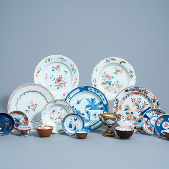 A varied collection of Chinese famille rose, Imari style, blue, white and iron red porcelain, Qianlong