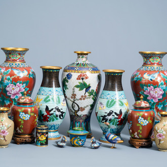 An extensive and varied collection of Chinese cloisonné wares, 20th C.