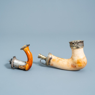 A gilt silver mounted meerschaum pipe with the 'Prince of Wales' feathers' and one with symbols of the French revolution, 19th C.