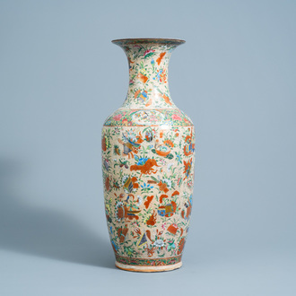 A Chinese Nanking crackle glazed famille rose 'antiquities' vase, 19th C.