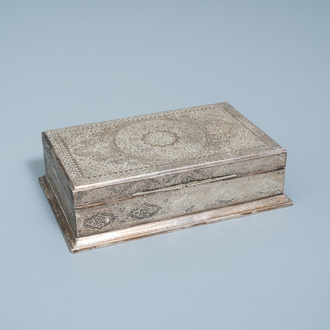 A Persian silver box and cover with floral design, 19th/20th C