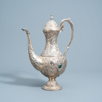 A Spanish inlaid silver Historicism jug with floral design and swans, 20th C.