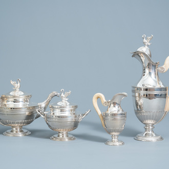 A four-piece silver Directoire style tea set with ivory handles, 800/000, 19th/20th C.