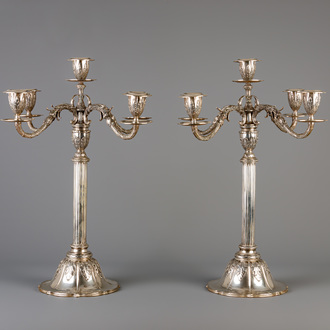 A pair of exceptional five-light silver candelabra, 800/000, 19th C.