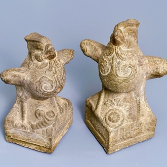 Two large Chinese carved stone 'phoenix' figures, Yuan or Ming