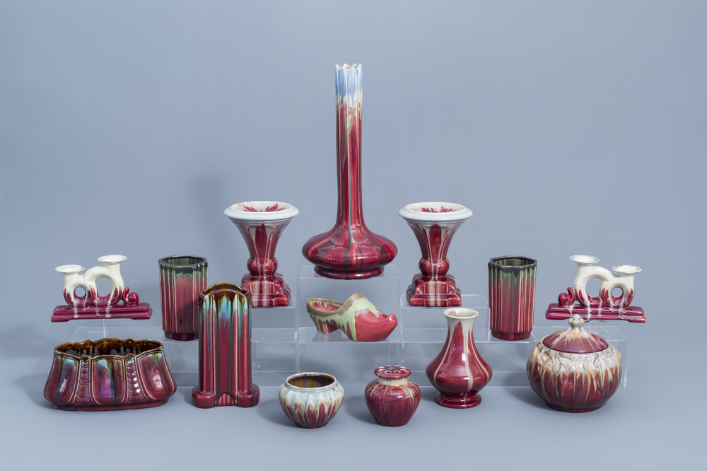 A varied collection of polychrome Art Nouveau and Art Deco vases and other items., a.o. Thulin, first half of the 20th C.