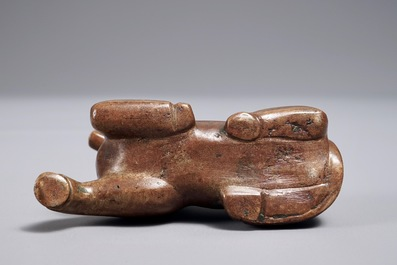 A Chinese bronze scroll or paper weight shaped as a recumbent horse, 19/20th C.