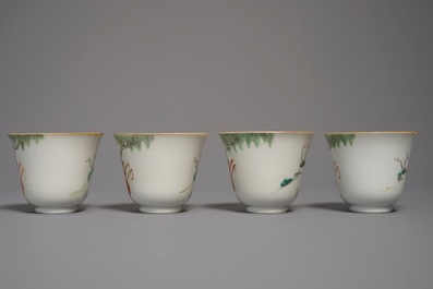 Four Chinese famille rose cups and saucers, Xianfeng mark and of the period