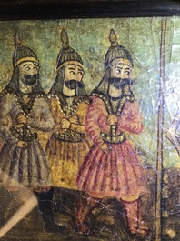 Qajar school: A triptych of a princely parade, oil on panel, Iran, 19th C.