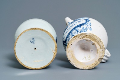 Two Dutch Delft blue and white pharmacy wet drug jars, 18th C.