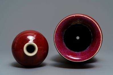 Two Chinese monochrome sang-de-boeuf and flambé vases, 18/19th C.